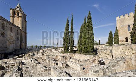 Ruins of the Fortaleza de La Mota with thw abbey and the alcazar tower in Alcala la Real Spain