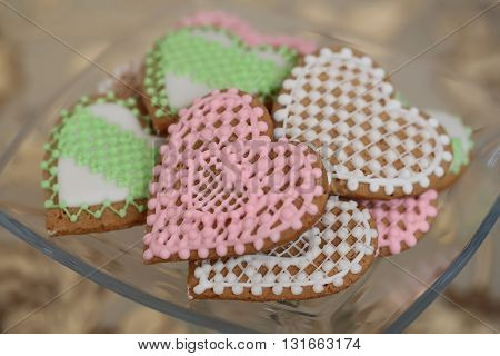 Tasty Colorful Biscuits Hearts