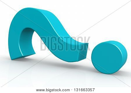 Blue question mark on isolate white background 3D rendering