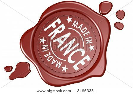 Made in France label seal isolated on white background, 3D rendering