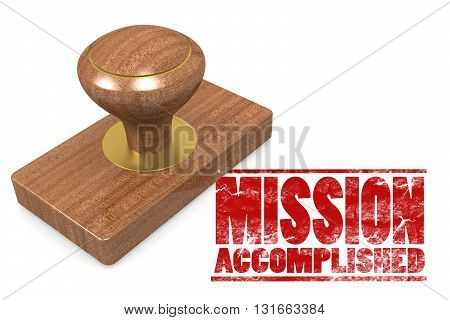 Mission accomplished wooded seal stamp image, 3D rendering