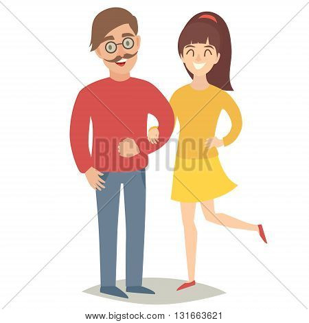 Vegetarians old people. Happy senior people man and women. Flat vector illustration. Cartoon characters on isolated background