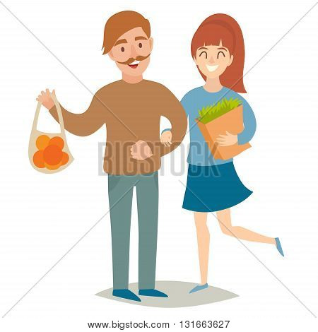 Vegetarians people. Vegetarian couple. Happy people man and women. Flat vector illustration. Cartoon characters on isolated background