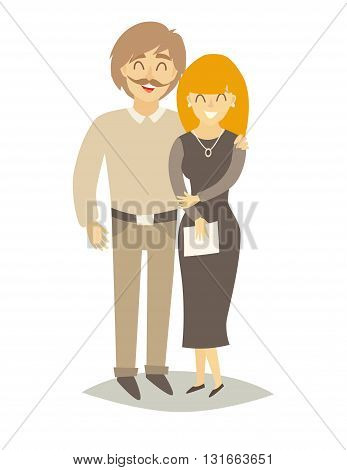 Asian happy family. Asian man and asian woman in love. Cartoon characters family. Flat style vector illustration isolated on white background