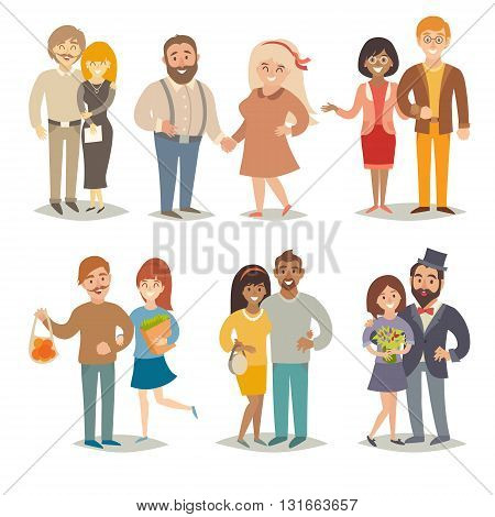 People and couples vector illustration. Family couples set. People cartoon style. Family hand draw vector. Young couples. Vector illustration isolated on white background