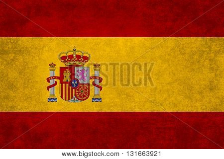 Spanish national flag with a vintage textured treatment
