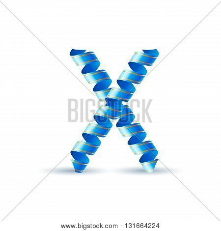 Letter X made of blue curled shiny ribbon