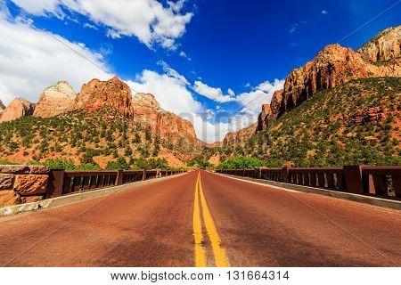 Scenic Zion Road. Zion National Park Interior Road. Utah, Usa.