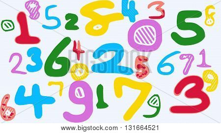 colorful drawing numbers 1 2 3 4 5 6 7 8 9 0