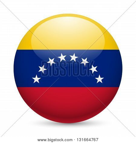 Flag of Venezuela as round glossy icon. Button with Venezuelan flag