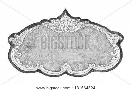 old decorative silver frame - handmade engraved - isolated on white background