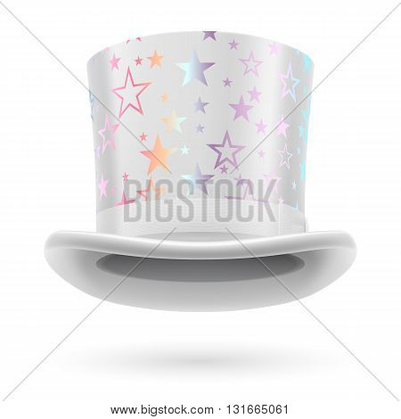 White top hat with white stars on the white background.