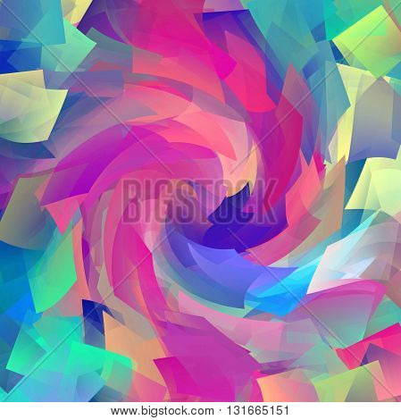 Abstract coloring horizon gradients background with cubism and twirl effects