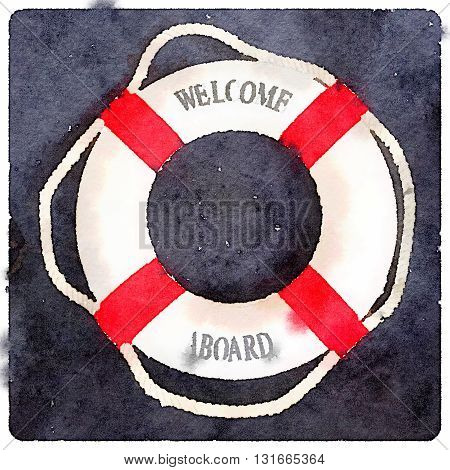 A digital watercolor of a life buoy with red stripes and Welcome Aboard text.