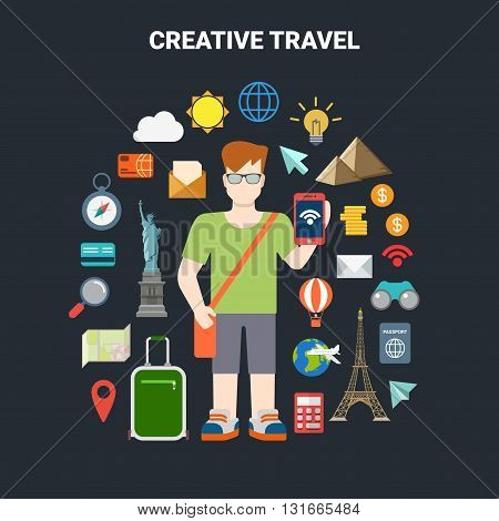 Travel vacation tourism icon smartphone app landmarks vector