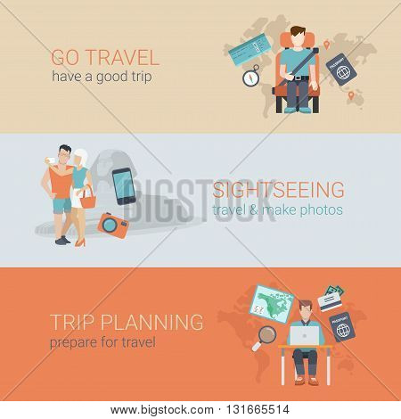 Flat website slider banner travel sightseeing trip planning