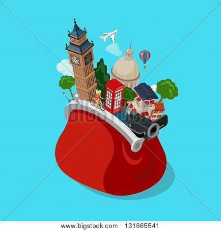 Bag sights landmarks tourism showplace flat isometric vector 3d