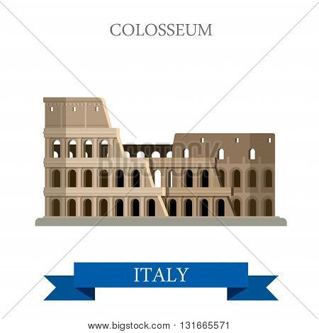 Colosseum Rome Italy Romanian heritage flat vector attraction