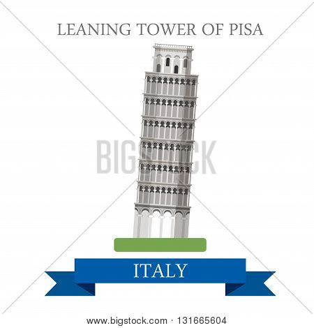 Leaning Tower Pisa Rome Italy flat vector attraction landmark