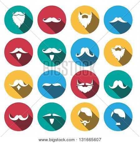 flat shadow Mustache And Beard Icons Set.