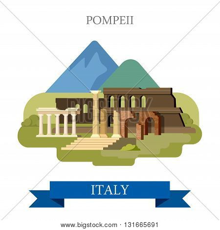 Pompeii Ruins in Italy flat vector attraction sight landmark