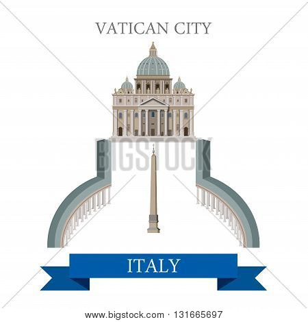 Vatican City Piazza San Pietro Square Rome Italy flat vector