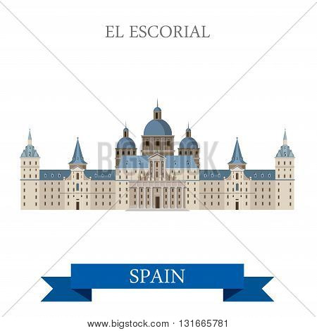 El Escorial Monastery King Residence Madrid Spain flat vector