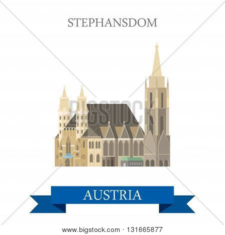 Stephansdom St Stephan Cathedral Vienna Austria flat vector