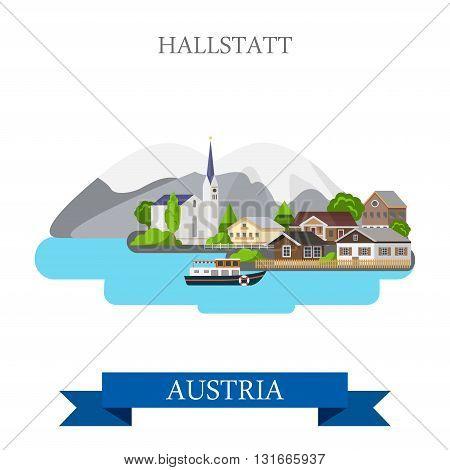Hallstatt Lake Salzkammergut Austria flat vector attraction