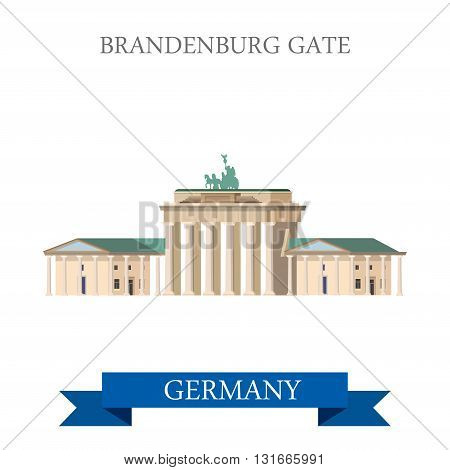Brandenburg Gate Berlin Germany flat vector attraction landmark