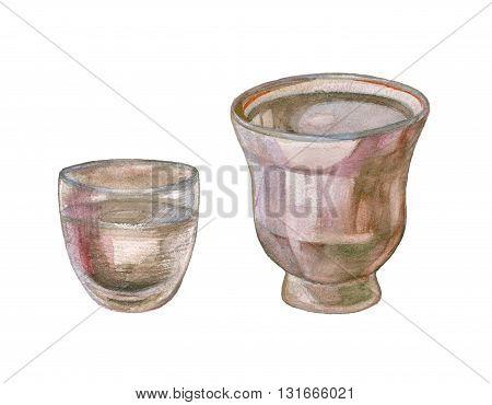 Watercolor Flower Pot, Vase