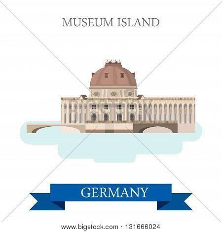 Museum Island Berlin Germany flat vector attraction landmark