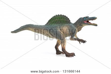 side view grey spinosaurus toy on a white background