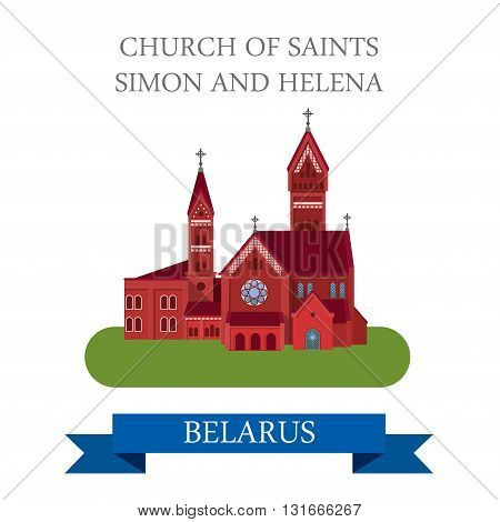 Church Saints Simon Helena Minsk Belarus flat vector attraction