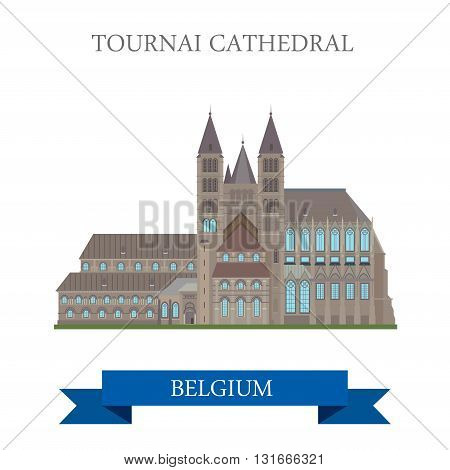 Tournai Cathedral Belgium flat vector attraction sight landmark