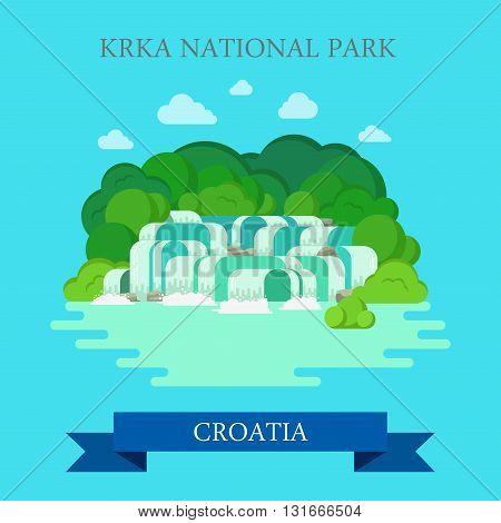 KRKA National Park Croatia flat vector attraction sight landmark