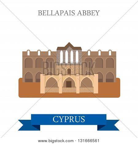 Bellapais Abbey Northern Cyprus flat vector attraction landmark