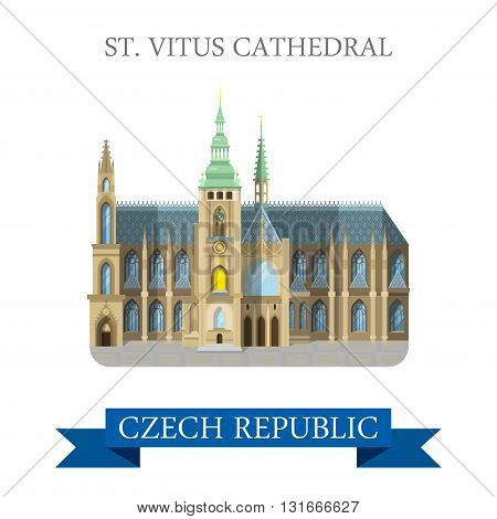 St Vitus Cathedral Prague Czech Republic flat vector attraction