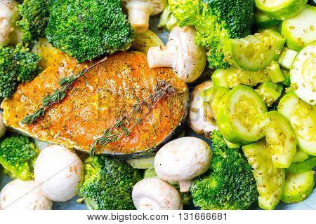 Fresh Raw Salmon Fish Steak