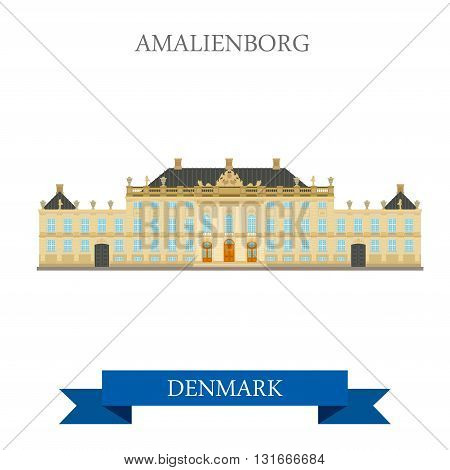 Amalienborg Copenhagen Denmark flat vector attraction landmark