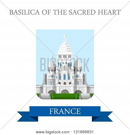 Basilic Sacred Heart Paris France flat vector attraction sight