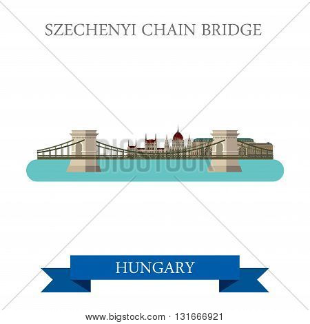 Szechenyi Chain Bridge Budapest Hungary flat vector attraction