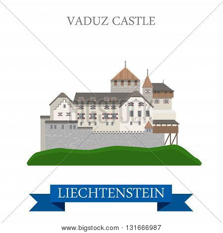 Vaduz Castle in Liechtenstein flat vector attraction landmark
