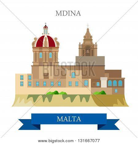Mdina in Malta Europe flat vector attraction sight landmark
