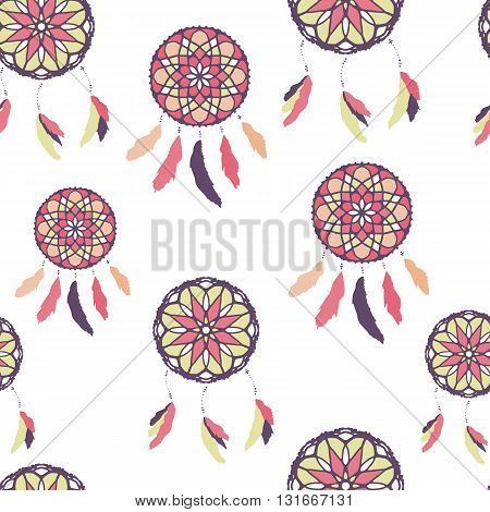Seamless pattern with freehand dreamcatchers. Ethnic vector illustration on white background. Colorful wallpaper. Dreamcatchers with feathers
