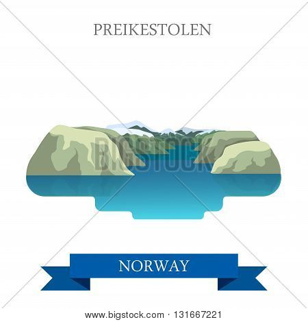 Preikestolen Norway Europe flat vector attraction sight landmark
