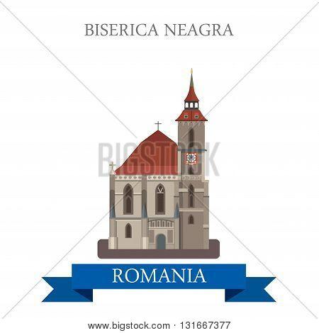 Biserica Neagra Romania Europe flat vector attraction landmark