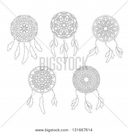 Set of zentangle style dreamcatchers. Tribal vector illustration isolated on white. Page for antistess coloring. Stylized dreamcatcher with feathers
