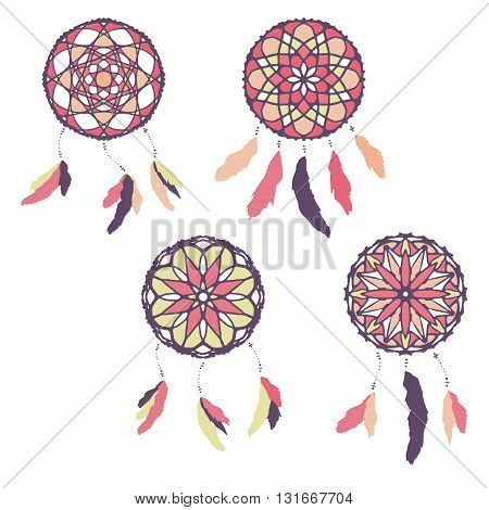 Set of freehand dreamcatchers. Ethnic vector illustration isolated on white. Tribal design. Boho stile. Native american simbol. Dreamcatchers with feathers
