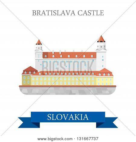 Bratislava Grad Castle Slovakia flat vector attraction sight